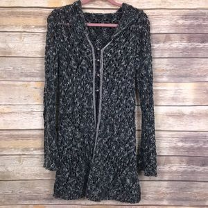 Free People knit duster hooded sweater - no size